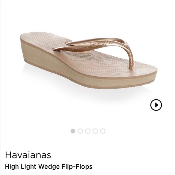 06d63379fc0 Havaianas Shoes - Havaianas rose gold wedge flip flips 39-40